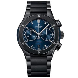 Часы HublotClassic Fusion Chronograph Ceramic Blue Bracelet45mm